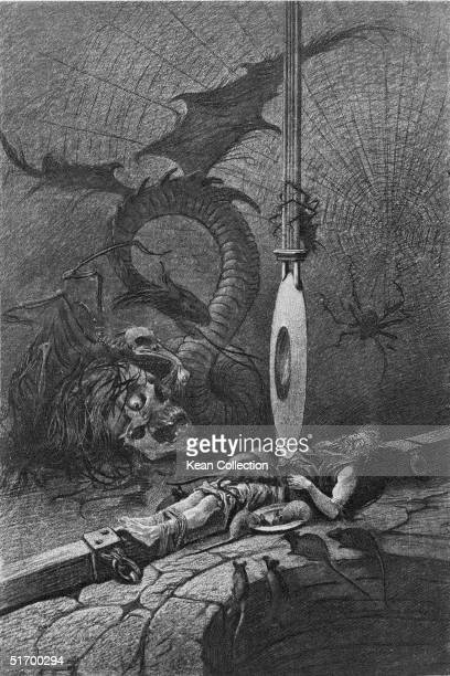 A man bound next to a pit sees horrific images of a dragon a skeleton a skull and giant spiders as he is slowly tortured by a razoredged pendulum in...