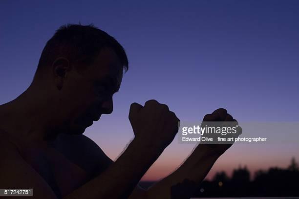 Man boxer boxing silhouette guard position
