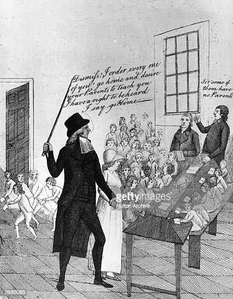 A man brandishing a walking stick and addressing the pupils and teachers at a Sunday evening school telling them 'Dismiss I order every one of you go...