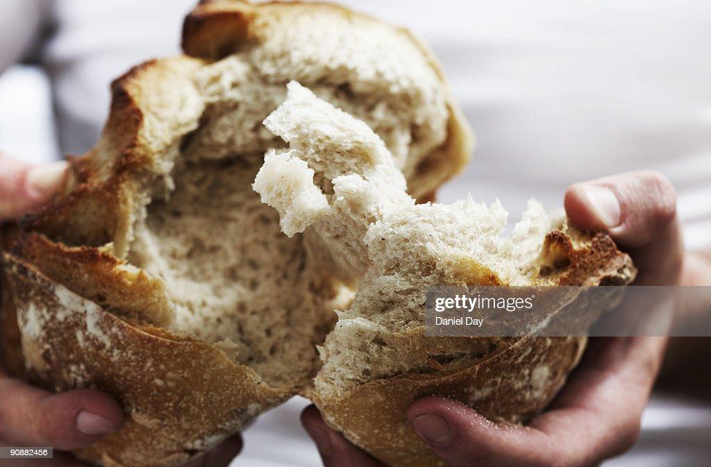 Man breaking bread  : Stock Photo