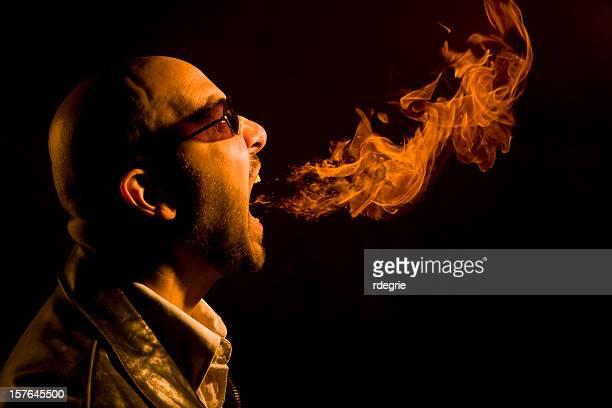 homem a respiração de fogo azia, mau hálito, ou irritação - refluxo gastro esofágico imagens e fotografias de stock