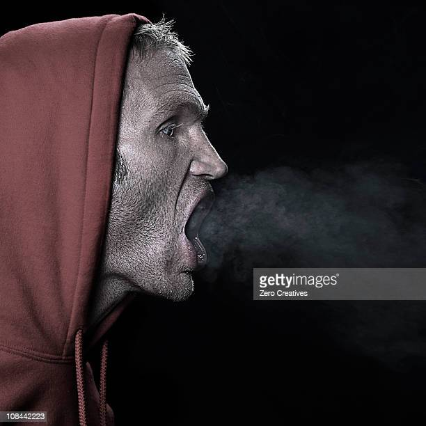 Man breathing out
