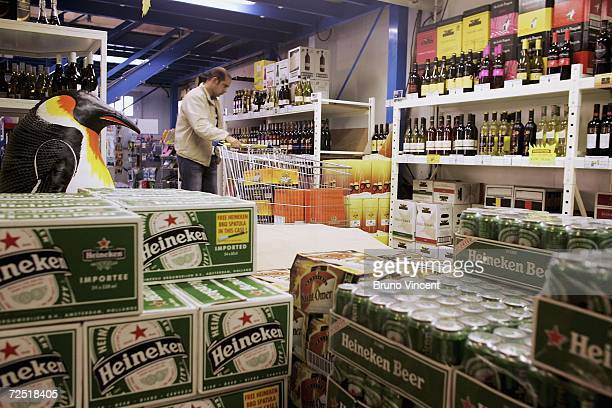 A man browses in a wine warehouse near Calais ferry port on November 13 2006 in Calais France A European Courts of Justice ruling is expected to hit...