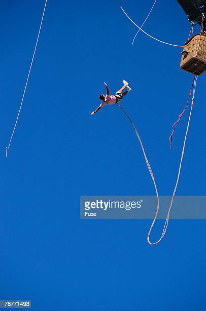 Man Bungee Jumping from a Hot Air Balloon