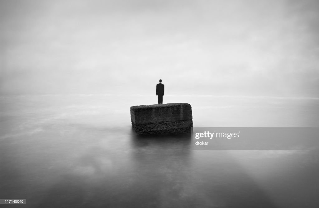 Man buried in a stone : Stock Photo