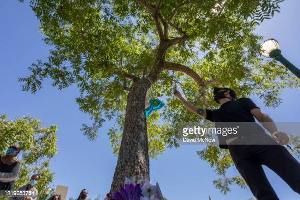 A man burns sage below the tree that authorities say Robert Fuller a 24yearold black man was found hanging dead from near Palmdale City Hall on June...