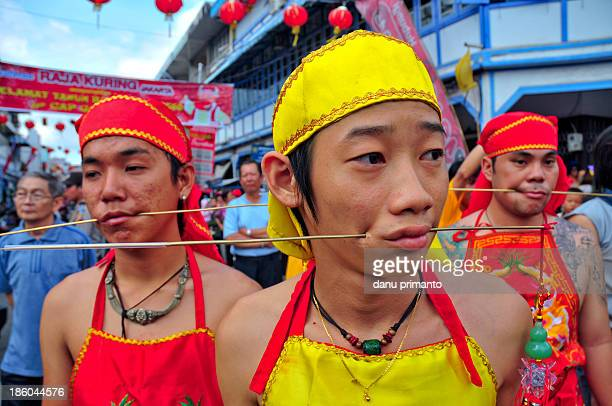 Man called Tatung, prickered their cheek by steel stem in Cap Go Meh Ritual in the early day of the festival. The festival hold to end the Lunar New...