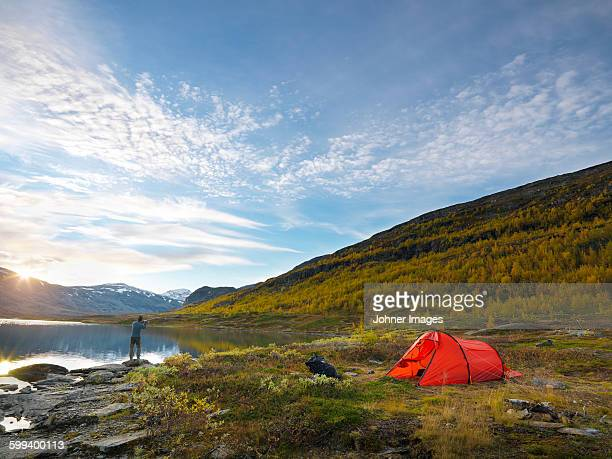 man camping - swedish lapland stock photos and pictures