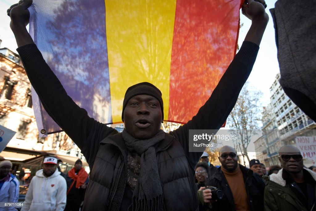 Protest against slavery in Libya in France : News Photo