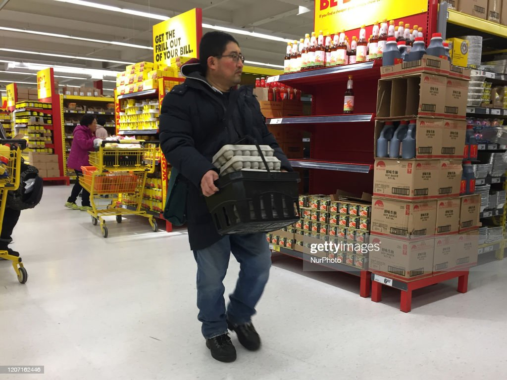 Chaotic Scenes At Grocery Stores Due To COVID-19 Panic : News Photo