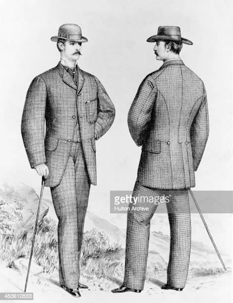 A man carrying a cane models a suit July 1873 Original publication The West End Gazette