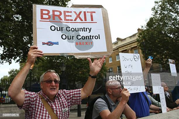 A man carrying an antiEU proBrexit placard joins a counter protest against proEurope marchers on a March for Europe demonstration against the Brexit...