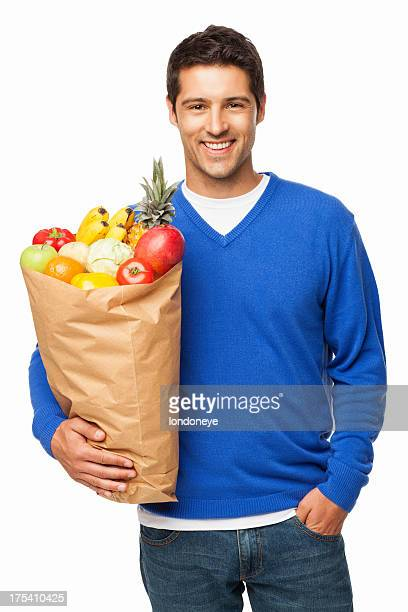 Man Carrying Bag Of Groceries - Isolated