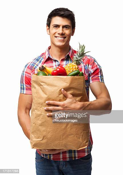 Man Carrying Grocery Bag - Isolated