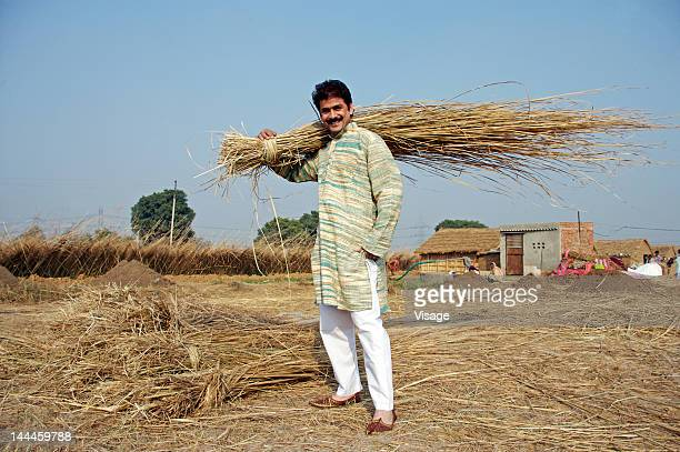 Man carrying hay on his shoulders, portrait