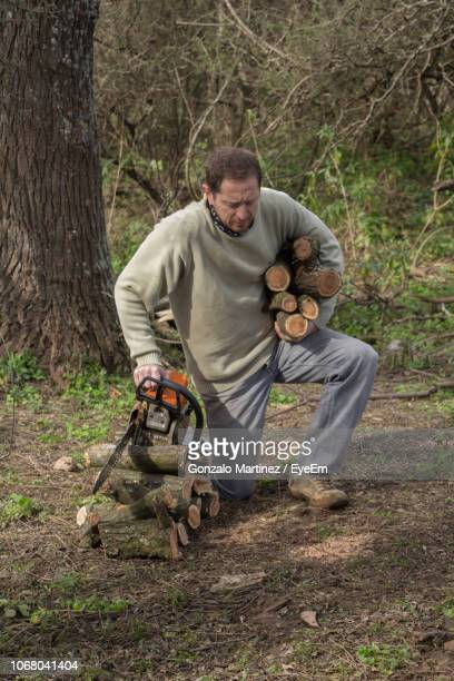 man carrying logs while kneeling in forest - gonzalo caballero fotografías e imágenes de stock