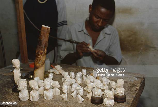 A man carves small figures from ivory a material illegal to sell in Kinshasa Poaching and the illegal trafficking of ivory are an ongoing problem in...