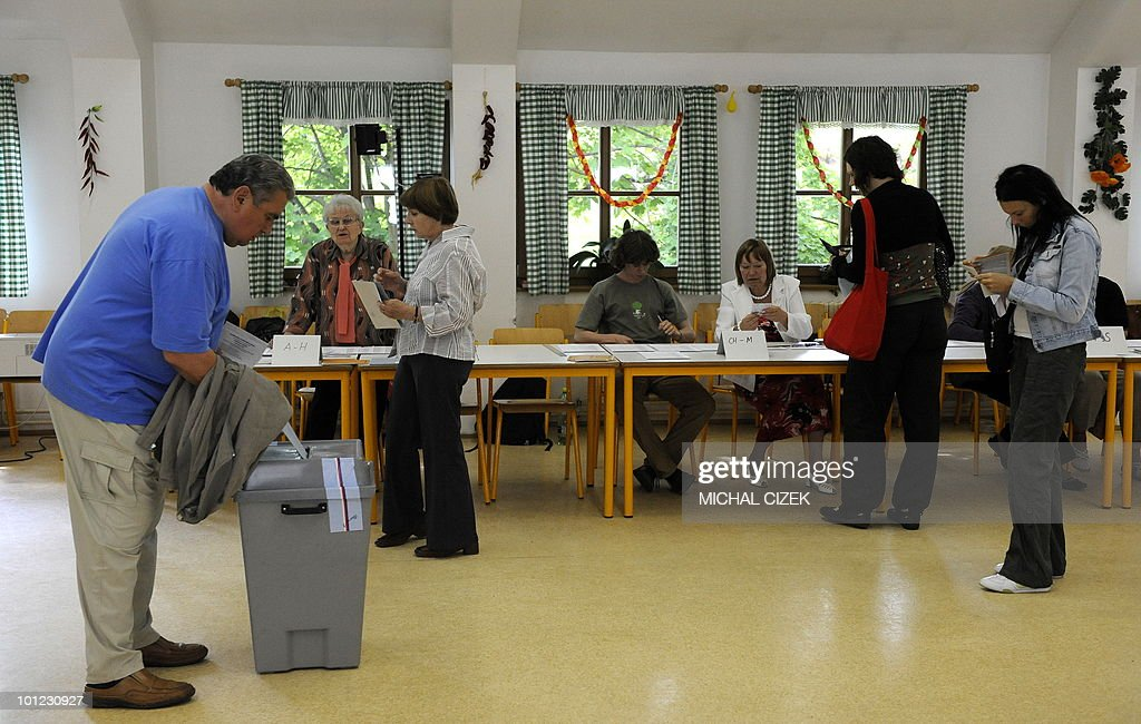 A man casts his ballot at a polling station on May 28, 2010 in Prague during the first day of the Czech elections. Czechs started voting in a general election Friday to choose new leaders and bring an end to a political limbo triggered by the collapse of a centre-right coalition more than a year ago. PHOTO