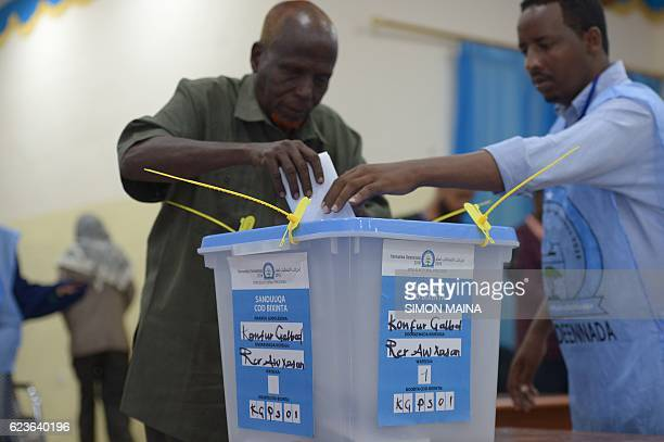 Man casts his ballot on November 16 in Baidoa. Somalia is in the process of selecting a new parliament, upper house and president in a limited...