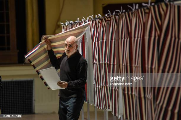 Man casts his vote at the Montpelier Town Hall on November 6, 2018 in Montpelier, Vermont. Turnout is expected to be high nationwide as Democrats...