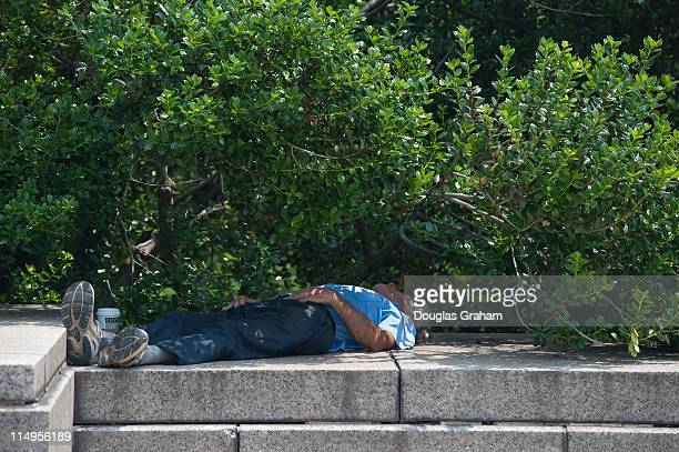 A man catches a 'cat nap' in the shade near the fountain in the Upper Senate Park of the US Capitol Temperatures in the District reached the mid90s
