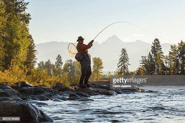 Man catching fish, fly fishing in river, Canada