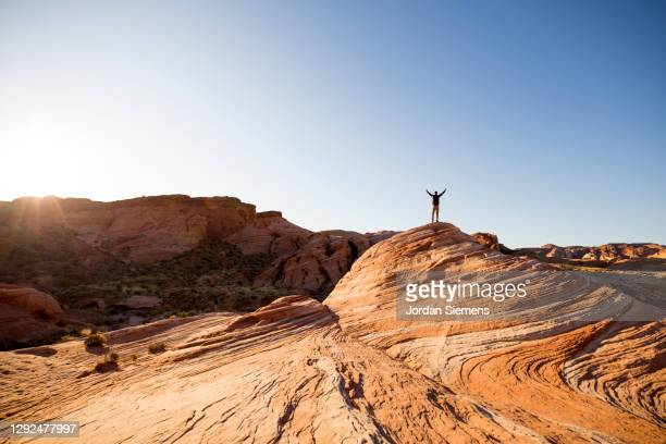 a man celebrating from atop a rocky point in the desert. - las vegas stock pictures, royalty-free photos & images