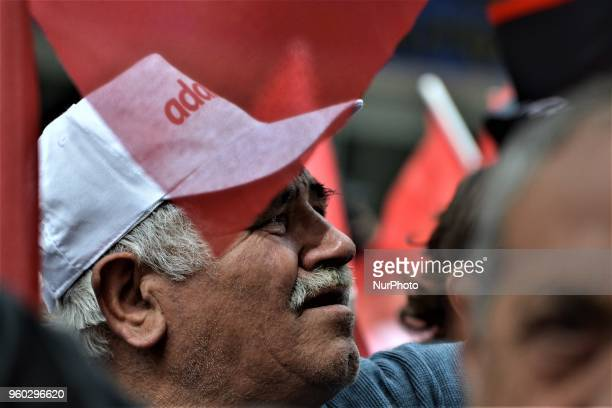 A man chants slogans during a demonstration staged by the main opposition Republican People's Party protesting the state of emergency on the first...