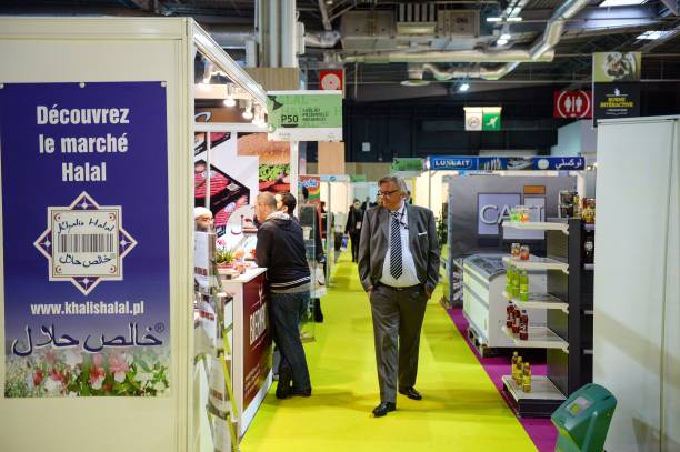 A man check halal stands on April 10, 2013 at the MDD Expo