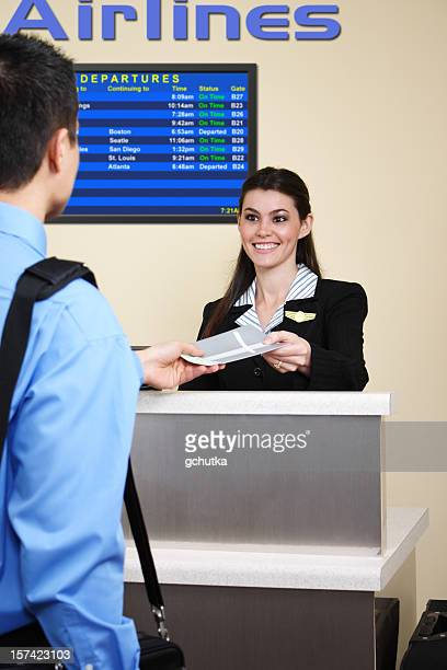 Man checking in at the airport
