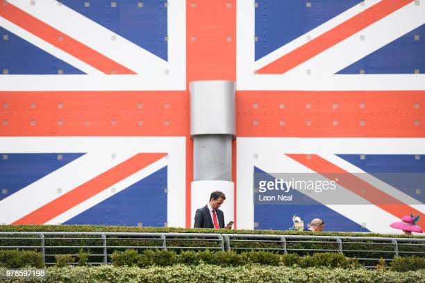 Guests pose on the steps during day 1 of Royal Ascot at Ascot Racecourse on June 19 2018 in Ascot England Royal Ascot is Britain's most valuable race...