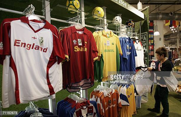 A man checks out a jersey at the biggest fan merchandising store June 8 2006 in Berlin Germany