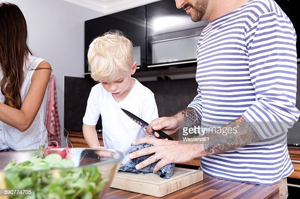 Man chopping red cabbage in the kitchen while his son watching