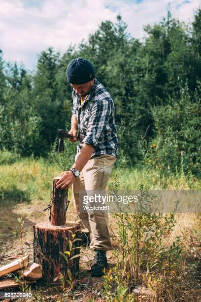 man chopping wood in rural landscape - 薪 ストックフォトと画像