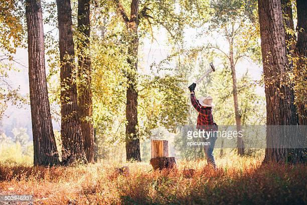 Mann mit Axt Koteletts Holz in den Wald an einem sonnigen Tag