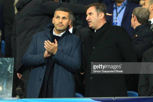 Man City chairman Khaldoon Al Mubarak and Man City Chief Executive Ferran Soriano during the Group F match of the UEFA Champions League between...