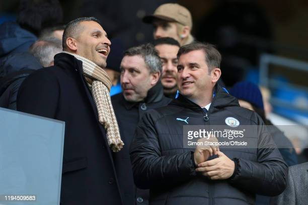 Man City chairman Khaldoon Al Mubarak and Man City Chief Executive Ferran Soriano look on before the Premier League match between Manchester City and...
