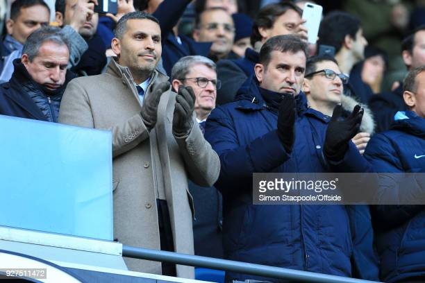 Man City chairman Khaldoon Al Mubarak and Man City Chief Executive Ferran Soriano look on during the Premier League match between Manchester City and...