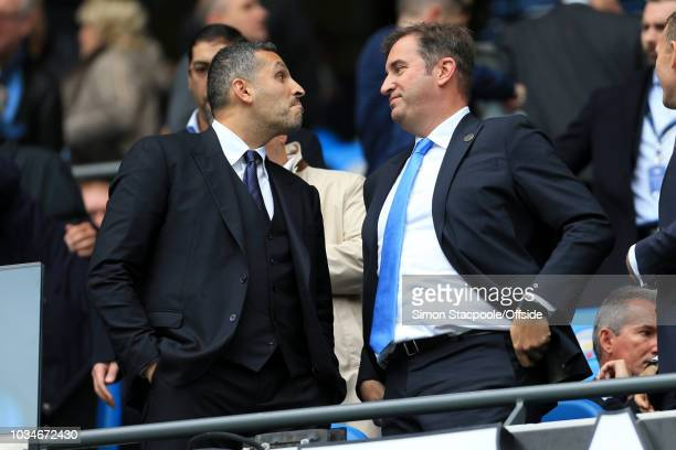 Man City chairman Khaldoon Al Mubarak speaks to Man City Chief Executive Ferran Soriano during the Premier League match between Manchester City and...