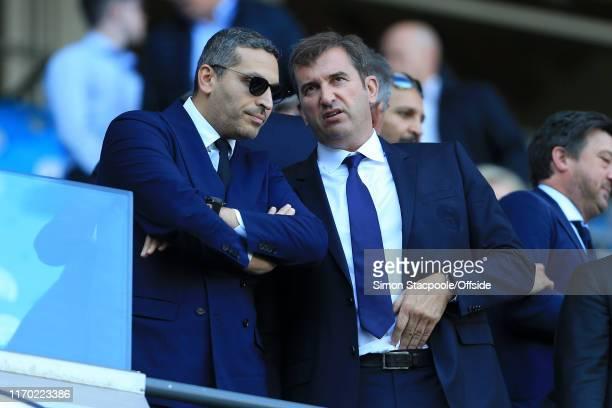 Man City chairman Khaldoon Al Mubarak speaks to Man City Chief Executive Ferran Soriano during the Premier League match between Manchester City and...