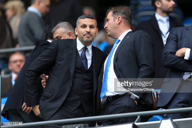 Man City Chief Executive Ferran Soriano talks to Man City chairman Khaldoon Al Mubarak ahead of the Premier League match between Manchester City and...