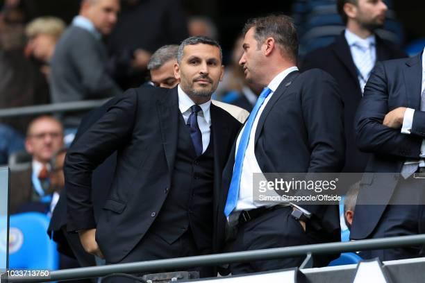 Man City Chief Executive Ferran Soriano talks to Man City chairman Khaldoon Al Mubarak ahead of the Premier League match between Manchester City and...