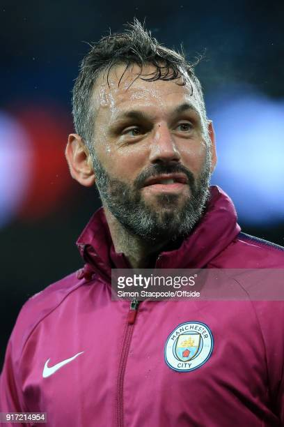 Man City coach goalkeeping Richard Wright looks on during the Premier League match between Manchester City and Leicester City at the Etihad Stadium...