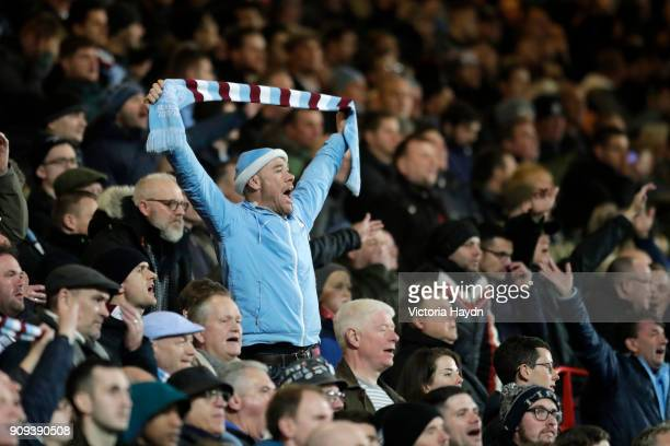 Man City fan shows his support during the Carabao Cup semifinal second leg match between Bristol City and Manchester City at Ashton Gate on January...