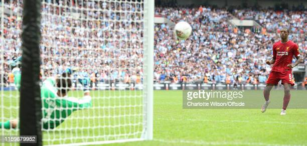 Man City goalkeeper Claudio Bravo saves the penalty of Georginio Wijnaldum of Liverpool during the FA Community Shield between Liverpool and...