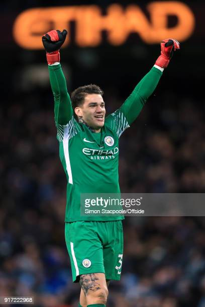 Man City goalkeeper Ederson celebrates during the Premier League match between Manchester City and Leicester City at the Etihad Stadium on February...