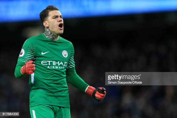 Man City goalkeeper Ederson celebrates their 2nd goal during the Premier League match between Manchester City and West Bromwich Albion at the Etihad...