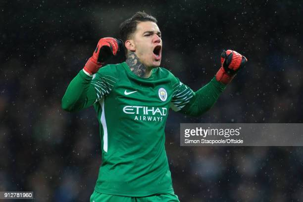 Man City goalkeeper Ederson celebrates their 3rd goal during the Premier League match between Manchester City and West Bromwich Albion at the Etihad...