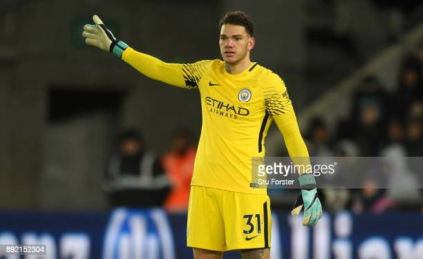 Man City goalkeeper Ederson in action during the Premier League match between Swansea City and Manchester City at Liberty Stadium on December 13 2017...