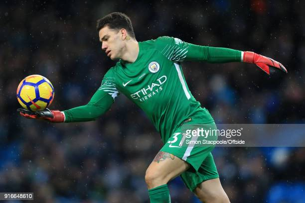 Man City goalkeeper Ederson in action during the Premier League match between Manchester City and Leicester City at the Etihad Stadium on February 10...